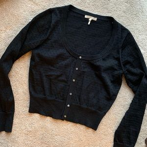 Maje Paris Black Cropped Knit Cardigan Sweater 3 M